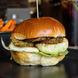 Online square halloumi and aubergine burger