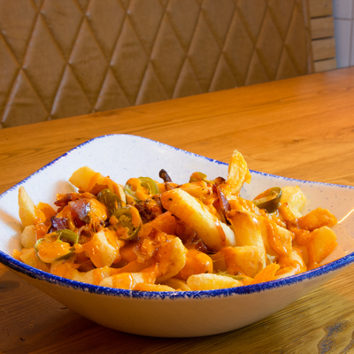 Berties Fish & Chips Chips with Bacon, Cheddar, Jalapenos & Mayo